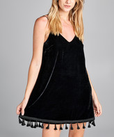 Simply Boho La Simply Boho LA Women's Casual Dresses BLACK - Black Velvet Fringe-Hem Camisole Shift Dress - Women