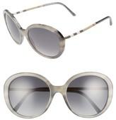 Burberry Women's 57Mm Check Temple Polarized Round Frame Sunglasses - Grey Havana