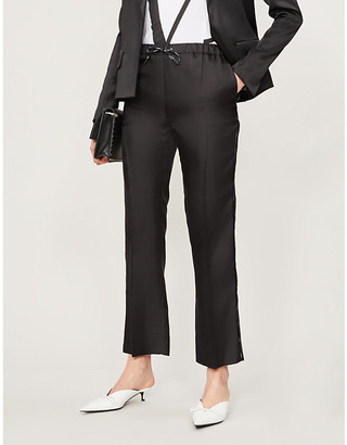 Valentino High-rise logo-trim silk straight-leg trousers