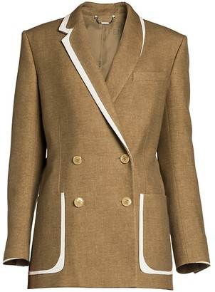 Fendi Leather-Trim Flannel Tweed Double-Breasted Blazer