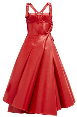 Junya Watanabe Bustier-bodice Faux-leather Flared Dress - Red