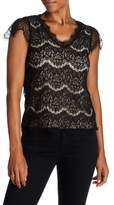 Lily White V-Neck Cap Sleeve Lace Shirt
