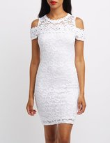 Charlotte Russe Lace Cold Shoulder Bodycon Dress