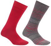 Hugo Boss Boss Design Stripe Socks, Pack Of 2, Grey/red