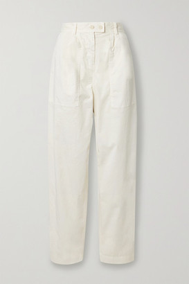 Nili Lotan Cyro Stretch-cotton Tapered Pants - Ivory