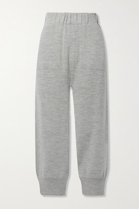 LAUREN MANOOGIAN Arch Alpaca And Wool-blend Track Pants - Light gray