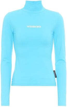 Vetements Logo stretch-jersey turtleneck top