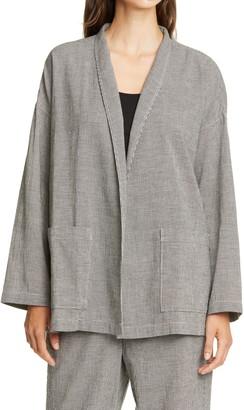 Eileen Fisher Houndstooth Organic Cotton Blend Jacket