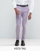 Asos Tall Super Skinny Smart Trousers In Light Purple