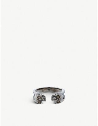 Alexander McQueen Engraved skull silver ring
