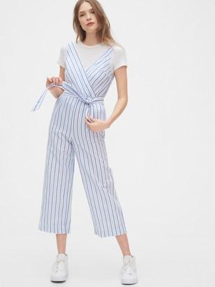 Gap Sleeveless Wrap-Front Jumpsuit in Linen-Cotton