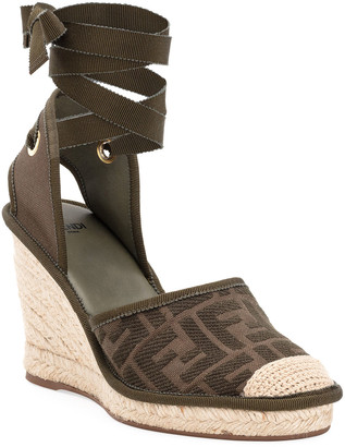 Fendi FF Logo Ankle-Wrap Wedge Espadrilles