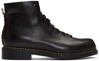 Feit Black Braided Lace-Up Boots