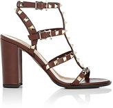 Valentino Women's Rockstud Leather T-Strap Sandals-TAN
