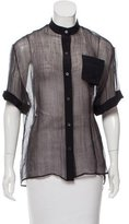 Reed Krakoff Sheer Button Up Top