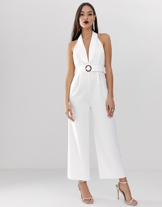 Asos Design DESIGN scuba tux collar halter jumpsuit with buckle detail and low back-White