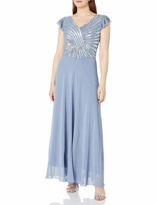 J Kara Women's Petite Pull On Long Dress with Beads