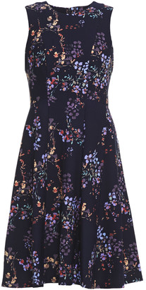 DKNY Flared Floral-print Stretch-crepe Dress