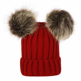 WQEM Women Warm Winter Hat Woolly Knitted Beanie with Detachable Chunky Faux Fur Bobble Pom Pom Women Warm Winter Hat Woolly Knitted Beanie with Detachable Chunky Faux Fur Bobble Pom Pom (Red)