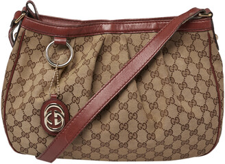 Gucci Maroon/Ebony GG Canvas Medium Sukey Messenger Bag