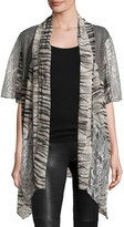 Alberto Makali Mixed-Print Open-Front Cardigan, Gray
