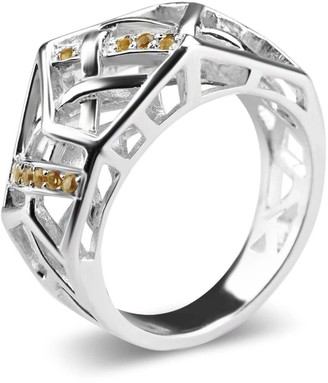 Bellus Domina White Gold Plated Crossover Citrine Ring