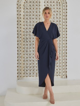 Forever New Jasmine Batwing Wrap Midi Dress - Navy - 10