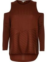 River Island Womens Rust brown ribbed cold shoulder top