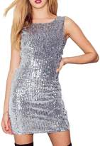 Richlulu Womens Sparkly Sleeveless Sequins Open Back Club Mini Dress(S,)