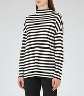 Reiss Annora - Striped High-neck Jumper in Black, Womens