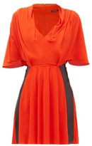 Atlein - Draped V-neck Jersey Mini Dress - Womens - Orange Multi