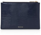Whistles Small Lizard-Embossed Leather Clutch