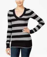 Energie Juniors' Molly Striped V-Neck Textured Sweater