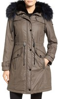 Laundry by Shelli Segal Women's Waxed Cotton Coat With Removable Faux Fur Trim
