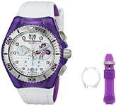 Technomarine Women's Quartz Watch with White Dial Chronograph Display and White Silicone Strap 114004