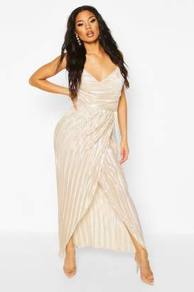 boohoo Pleated Wrap Maxi Dress