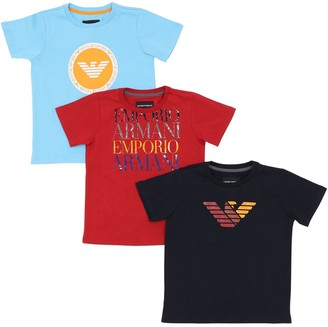 Emporio Armani Set Of 3 Logo Cotton Jersey T-shirts