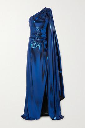 Semsem One-sleeve Draped Silk-blend Lame Gown - Royal blue