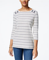 Charter Club Striped Pique Petite Top With Shoulder Rope, Only at Macy's