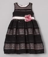 Dimples Black Flower Antique Lace Dress - Infant Toddler & Girls