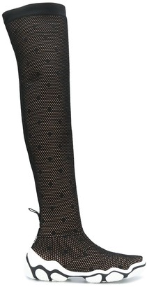 RED Valentino Polka Dot Mesh Thigh-High Boots