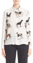 Stella McCartney Women's Dog Print Silk Blouse