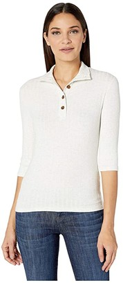 Vince Button-Up Elbow Sleeve (White) Women's Clothing