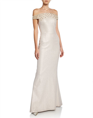 Rickie Freeman For Teri Jon Metallic Jacquard Off-the-Shoulder Short-Sleeve Gown w/ Beaded Bodice