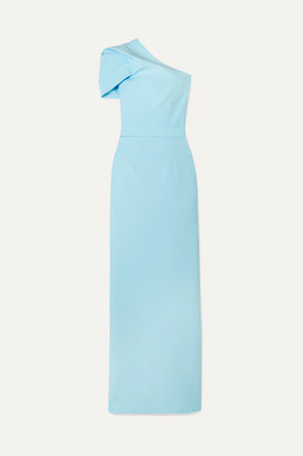 Safiyaa Kora One-shoulder Draped Crepe Gown - Light blue