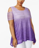 NY Collection Plus Size Ombré Lace Cold-Shoulder Top