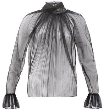 Saint Laurent Gathered Silk-tulle Blouse - Black