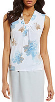 Calvin Klein Petites V-Neck Floral Print Matte Matte Jersey Shell