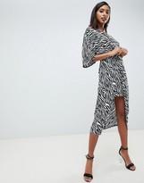 Asos Design DESIGN knot front midi kimono dress in zebra Animal print
