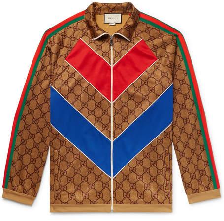 Gucci Oversized Webbing-Trimmed Logo-Print Tech-Jersey Track Jacket